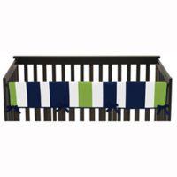 Sweet Jojo Designs Striped Long Crib Rail Guard in Navy Blue/Lime Green