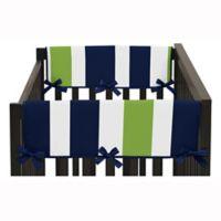 Sweet Jojo Designs Side Crib Rail Guard in Navy Blue/Lime Green Stripe