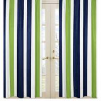 Sweet Jojo Designs Navy and Lime Stripe Window Panel Set