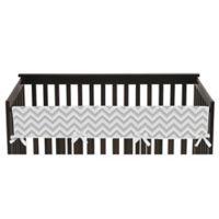 Sweet Jojo Designs Zigzag Chevron Long Crib Rail Guard Cover in Grey/White