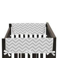 Sweet Jojo Designs Zig Zag Chevron Short Crib Rail Guard Covers in Grey/White (Set of 2)