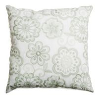 Softline Home Fashions Floral Embroidery Square Throw Pillow in Celadon