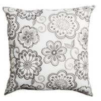 Softline Home Fashions Floral Embroidery Square Throw Pillow in Silver