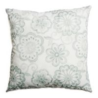 Softline Home Fashions Floral Embroidery Square Throw Pillow in Spa