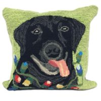 Trans-Ocean Front Porch Seasons Greetings Square Throw Pillow in Green