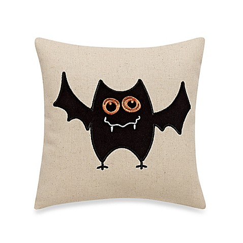 Black Throw Pillow For Bed : Batty Halloween Throw Pillow in Black - Bed Bath & Beyond