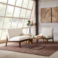 Madison Park Kari Slant Back Wood Settee in Off-White