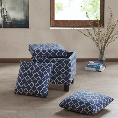Madison Park Shelley Square Storage Ottoman with Pillows in Navy - Buy Storage Ottoman Furniture From Bed Bath & Beyond