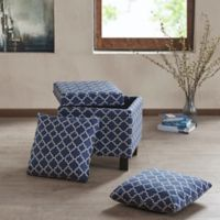 Madison Park Shelley Square Storage Ottoman with Pillows in Navy