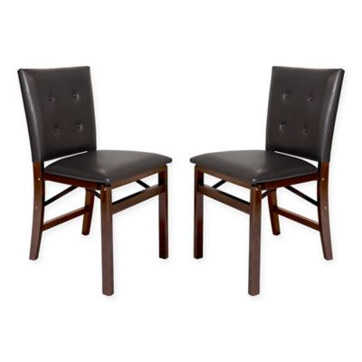 folding parsons chairs in espresso set of 2