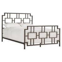 Verona Home Liosan Geometric Queen Metal Bed in Bronze Black