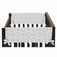 Sweet Jojo Designs Diamond Side Crib Rail Guard Covers in Grey/White