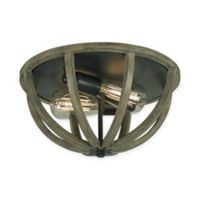 Feiss® Flush Mount 2-Light Ceiling Mount in Weather Oak Wood and Antique Forged Iron