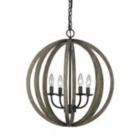 4-Light Weather Oak Wood and Antique Forged Iron Chandelier Pendant Ceiling Light