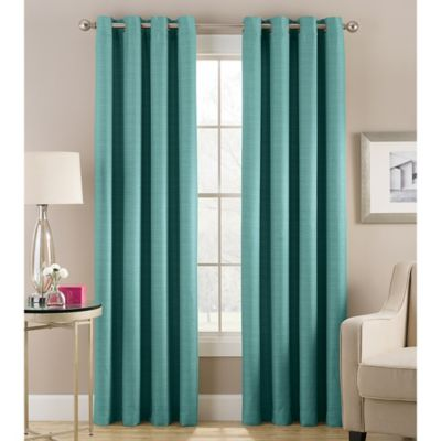 Cheshire 63 Inch Grommet Top Lined Window Curtain Panel In Teal