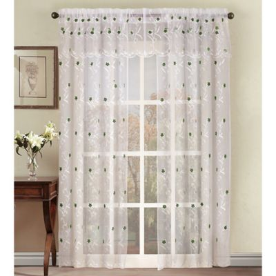 Astor 95 Inch Sheer Embroidered Rod Pocket Window Curtain Panel In Green
