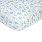carter's® Safari Sateen Fitted Crib Sheet in Aqua/Grey
