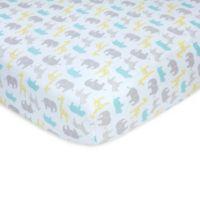 carter's® Safari Sateen Fitted Crib Sheet in Aqua/Grey