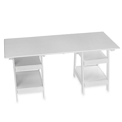 white trestle desk
