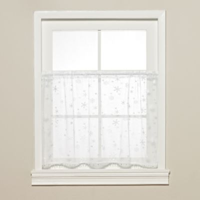 Heritage Lace® Wind Chill 36 Inch Kitchen Window Tier With Trim In White
