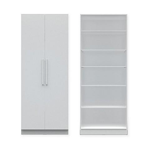 Manhattan Comfort Chelsea Wide 6 Shelf Storage Unit With 2 Doors