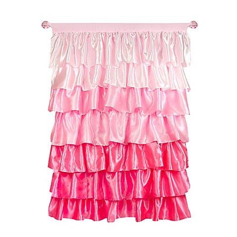 Tadpoles 63-Inch Ruffled Satin Curtain Panel in Pink