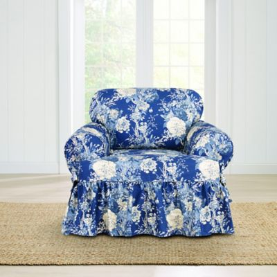 Beau Sure Fit® Ballad Bouquet By Waverly™ T Cushion Chair Slipcover In Indigo