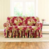 Sure Fit® Ballad Bouquet by Waverly™ T-Cushion Loveseat Slipcover in Crimson