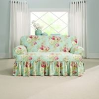 Sure Fit® Ballad Bouquet by Waverly™ T-Cushion Loveseat Slipcover in Robin's Egg Blue