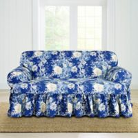 Sure Fit® Ballad Bouquet by Waverly™ T-Cushion Loveseat Slipcover in Indigo