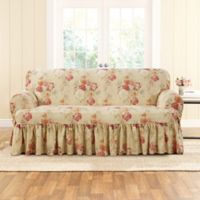 Sure Fit® Ballad Bouquet by Waverly™ T-Cushion Loveseat Slipcover in Blush
