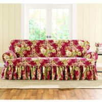 Sure Fit® Ballad Bouquet by Waverly™ T-Cushion Sofa Slipcover in Crimson