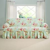 Sure Fit® Ballad Bouquet by Waverly™ T-Cushion Sofa Slipcover in Robin's Egg Blue