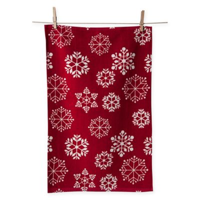 Snowflake Kitchen Towels In Red White Set Of 2