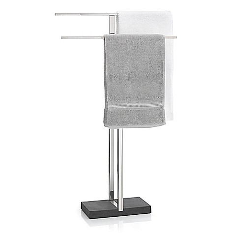 Menoto Freestanding Towel Rack In Polished Stainless Steel
