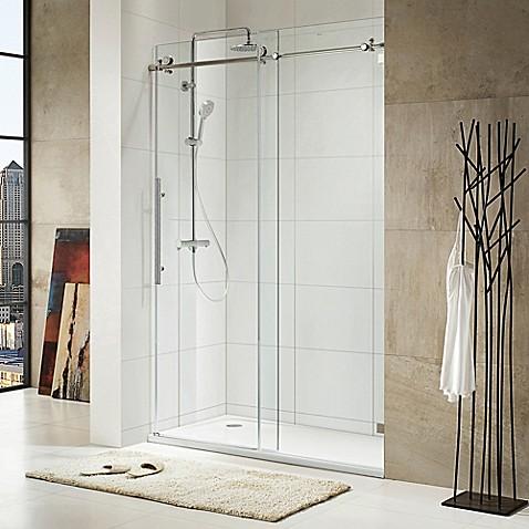 Trident Lux 60-Inch x 76-Inch Frameless Sliding Shower Door in ...