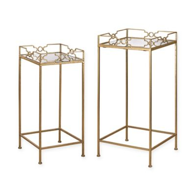 Sterling Industries 2 Piece Bowtie Mirrored Tables In Gold