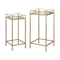 Sterling Industries 2-Piece Bowtie Mirrored Tables in Gold