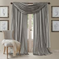Elrene Athena 95-Inch Rod Pocket Window Curtain Panels and Scarf Valance Set in Silver