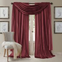 Elrene Athena 95-Inch Rod Pocket Window Curtain Panels and Scarf Valance Set in Red