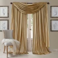 Elrene Athena 84-Inch Rod Pocket Window Curtain Panels and Scarf Valance Set in Gold