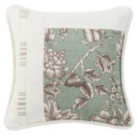 HiEnd Accents Gramercy Pieced Floral Square Throw Pillow in Green