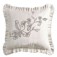 HiEnd Accents Gramercy Embroidered Ruffled Square Throw Pillow in Cream