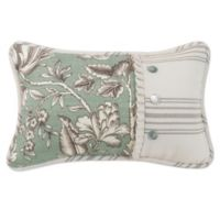 HiEnd Accents Gramercy Floral Pieced Oblong Throw Pillow in Green