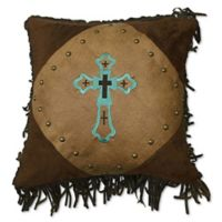 HiEnd Accents Las Cruces II Embroidered Square Throw Pillow in Tan
