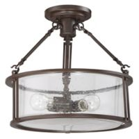 Quoizel Buchanan 3-Light Semi-Flush Mount Light in Bronze