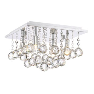 Quoizel bordeaux 4 light flush mount ceiling light in polished chrome