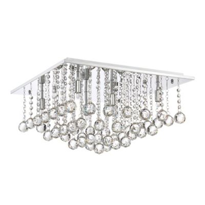 Quoizel bordeaux 6 light flush mount ceiling light in polished chrome