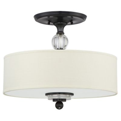 Quoizel downtown 3 light semi flush mount ceiling fixture in dusk bronze with linen