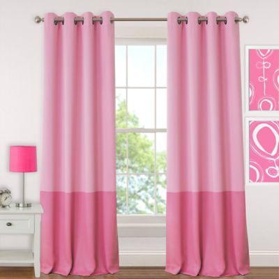 Elrene Madeline 95 Inch Room Darkening Grommet Top Window Curtain Panel In Pink